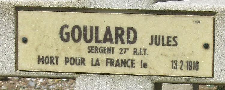 GOULARD Jules Plaque Tombe