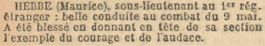 HEBBE Maurice Citation Ordre Armee - JO - 2 aout 1915